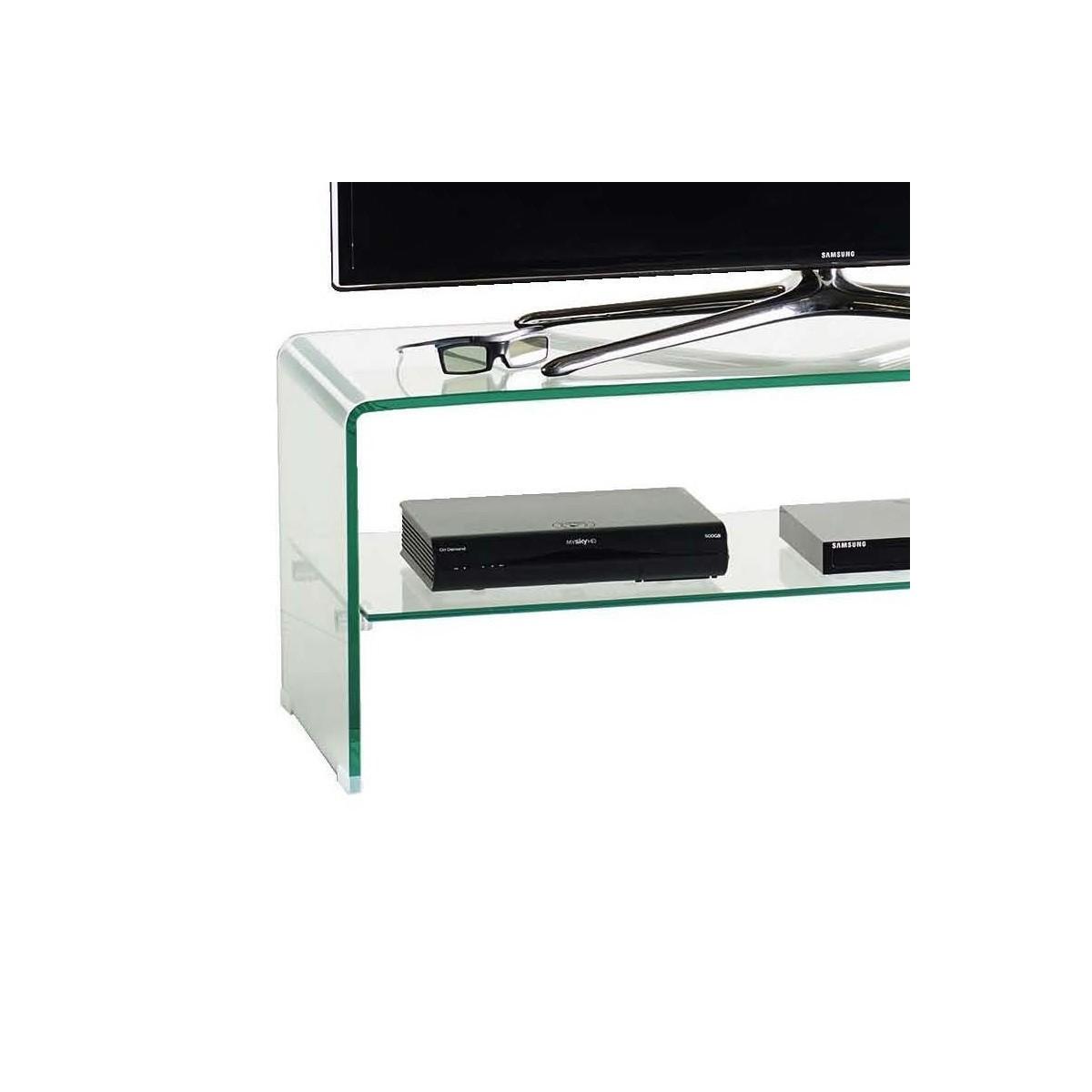 Porta Tv Cristallo Design.Mobile Porta Tv In Vetro Cristallo Curvato Design Fancy