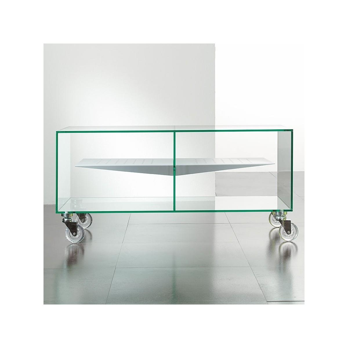 Carrello porta televisore in vetro trasparente 90 x 40 cm ebox - Porta televisore in vetro ...