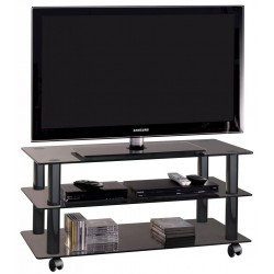 Carrello porta tv in cristallo nero 90 cm York