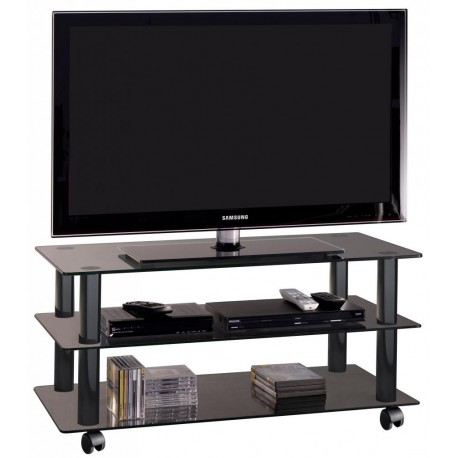 Carrello porta tv York in cristallo 90 cm