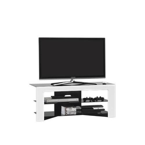 Mobiletto porta TV moderno in legno e cristallo Trix