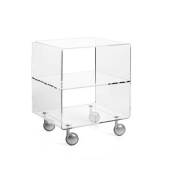 Carrello tavolino Andy 3 porta tv in metacrilato trasparente