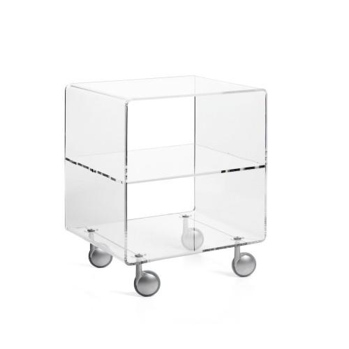 Carrello tavolino porta tv in metacrilato trasparente Andy 3