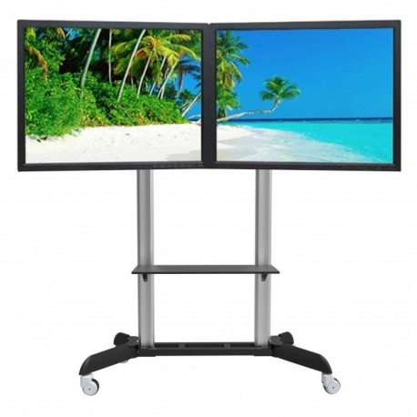 Staffe Mobili Per Tv.Carrello Staffa Porta Tv Per Due Monitor Da 32 A 70 Pollici Wilson2