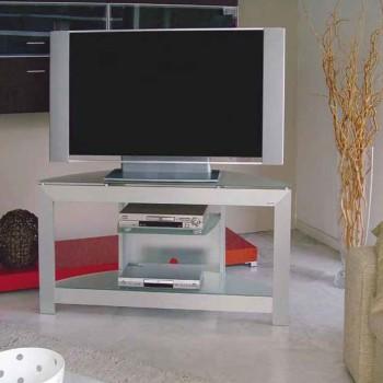 Mobiletto porta TV in alluminio e cristallo Extra 130