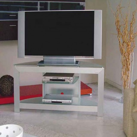 Mobiletto porta TV in alluminio e cristallo Extra 130