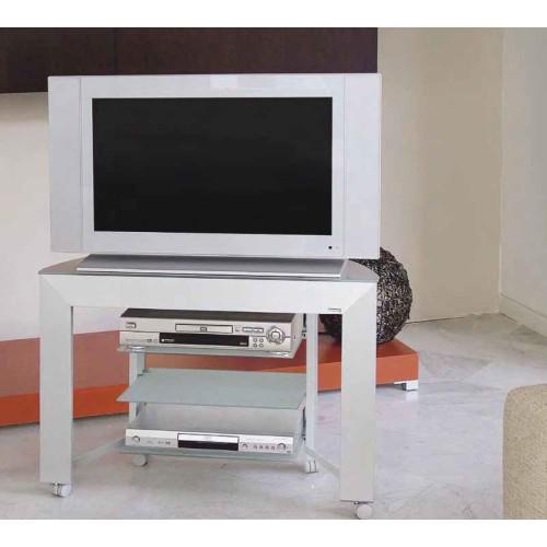Carrello porta televisore fino a 46 pollici in alluminio e cristallo Voyage