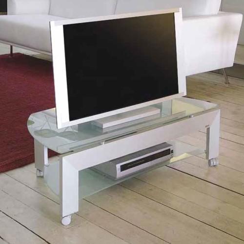Carrello porta televisione in alluminio e cristallo L100 cm Quadro