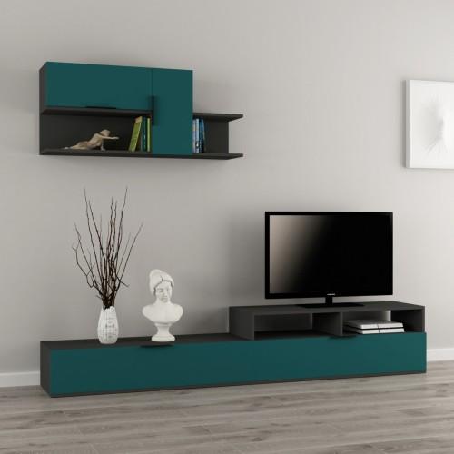 Adair parete attrezzata in legno melaminico design moderno - Pareti attrezzate porta tv ...
