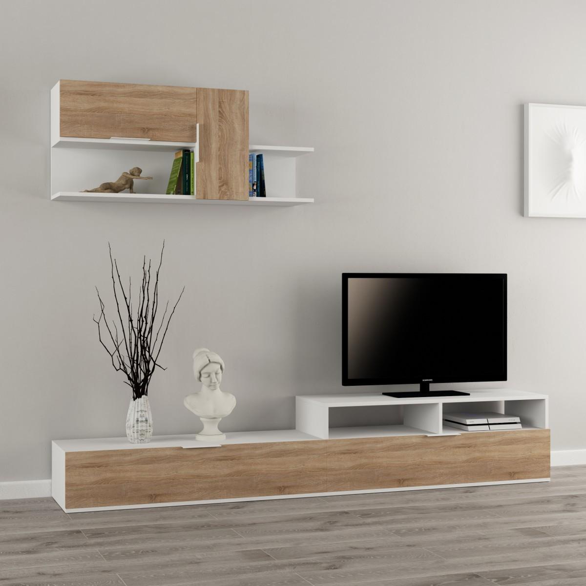 Adair parete attrezzata in legno melaminico design moderno for Parete attrezzata design moderno