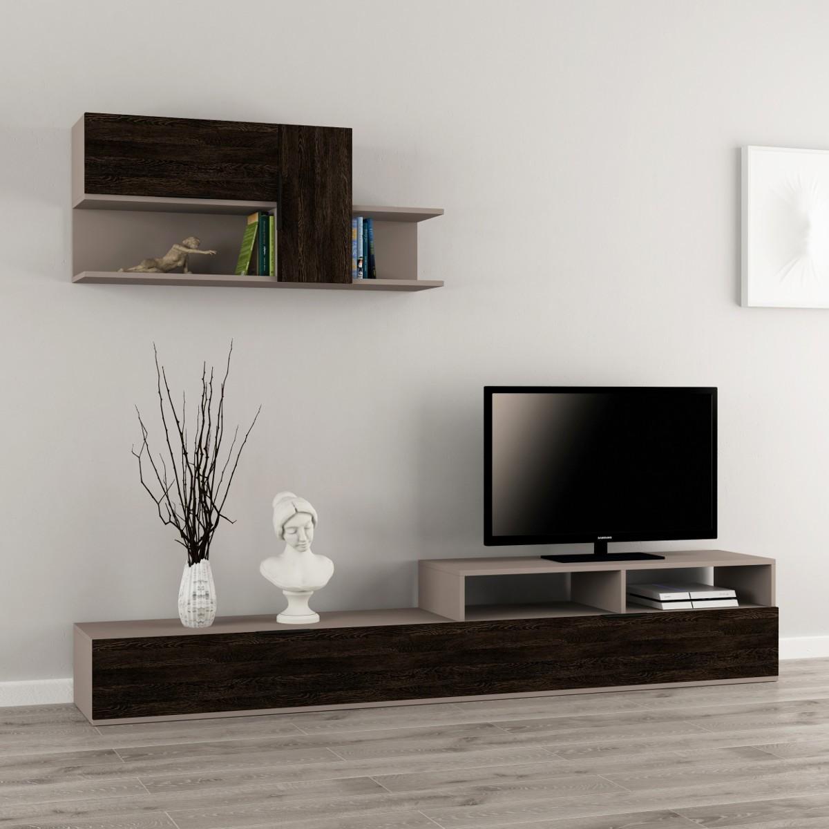 Adair parete attrezzata in legno melaminico design moderno for Pareti design moderno