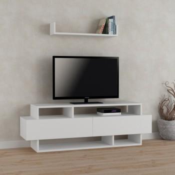 Andrew mobile tv con libreria moderno con ripiani ed ante
