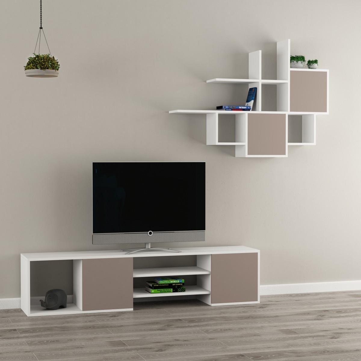 Zayden parete attrezzata mobile tv e libreria sospesa in legno - Mobile libreria a parete ...