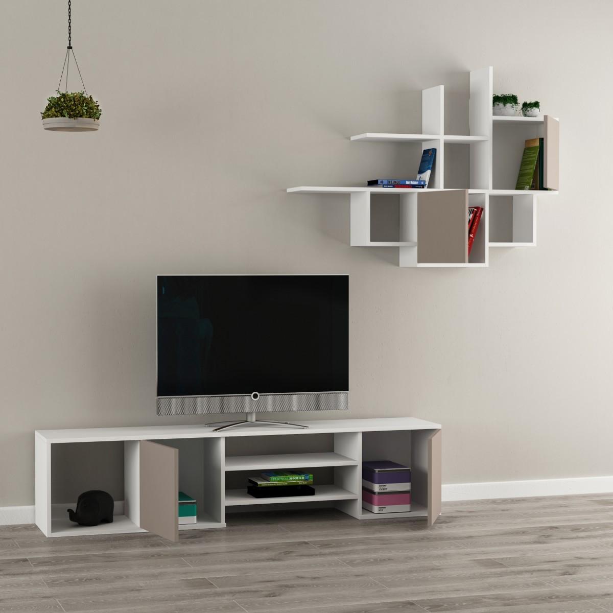 parete attrezzata mobile tv e libreria sospesa in legno