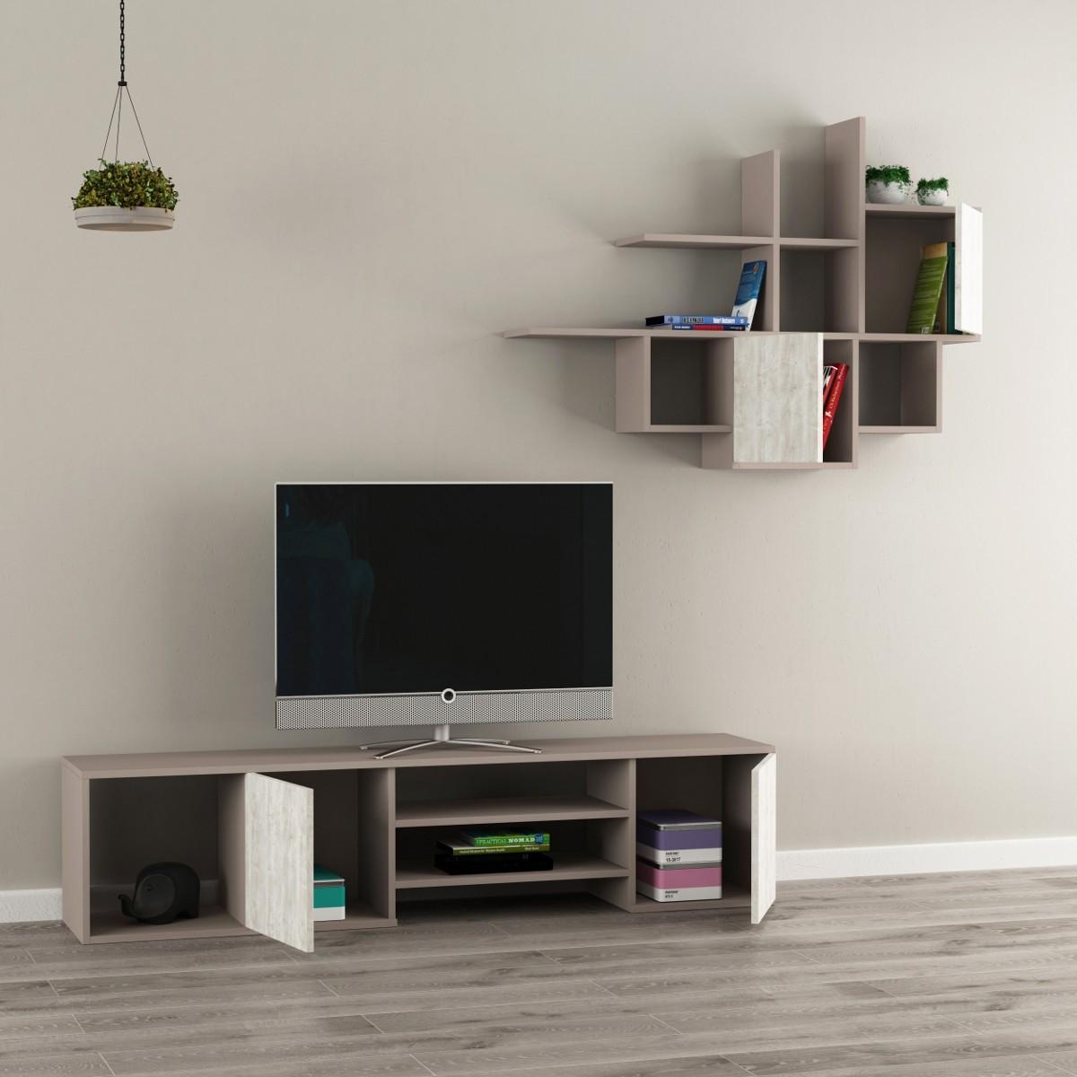 Zayden parete attrezzata mobile tv e libreria sospesa in legno - Parete attrezzata sospesa ...