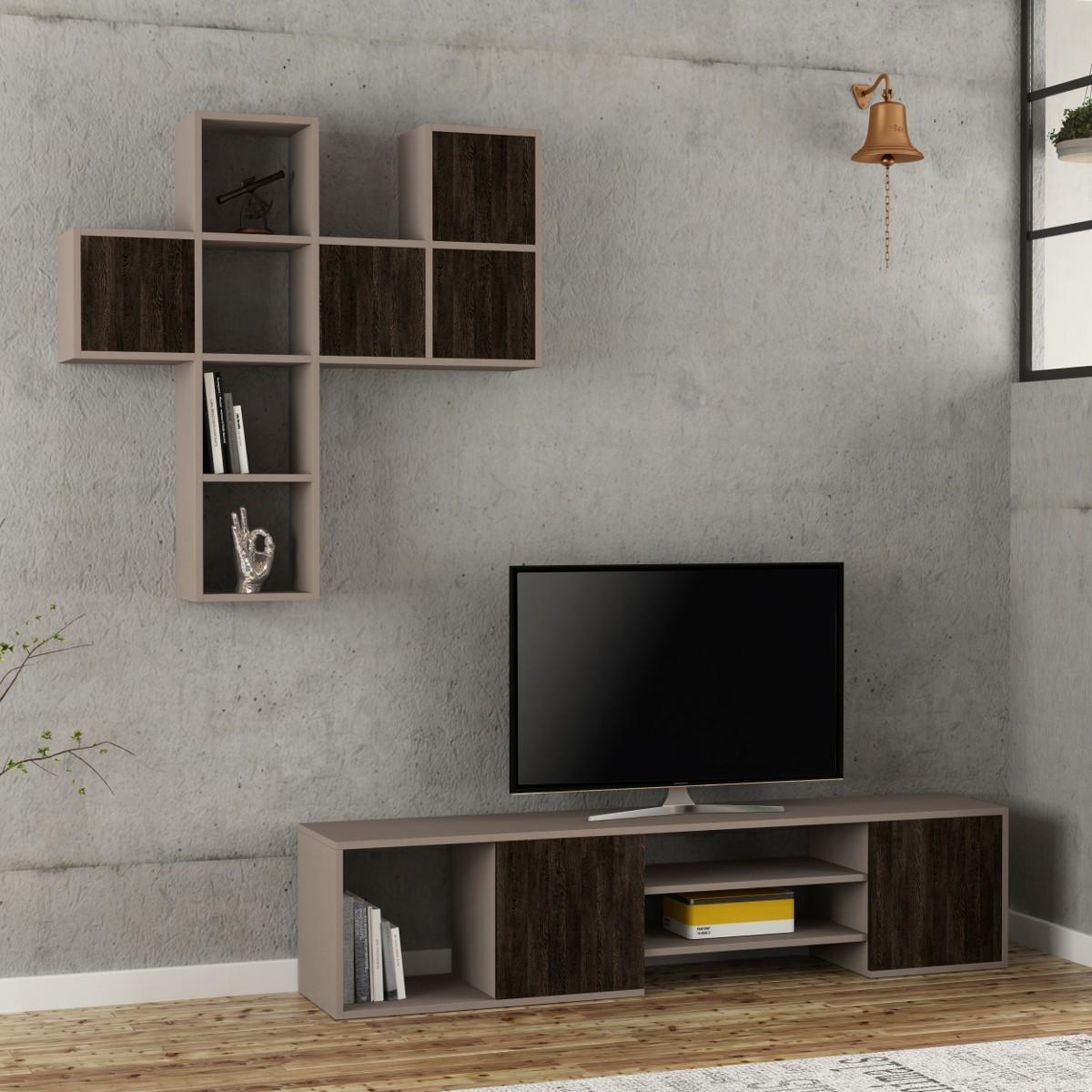 Teancum parete attrezzata con ripiani ed ante legno colorato