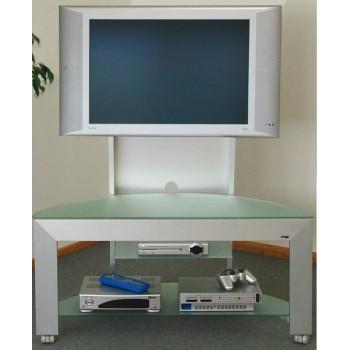 Carrello porta televisore in alluminio e cristallo Bonny