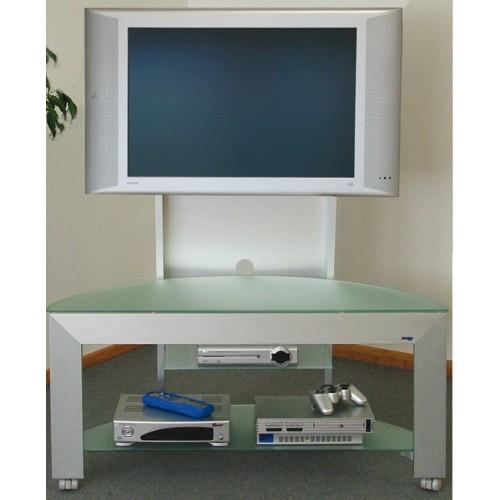 Carrello porta televisore in alluminio e cristallo Grandangolo