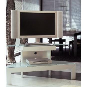 Mobile porta TV in alluminio e cristallo lunghezza 130 cm Coltrane