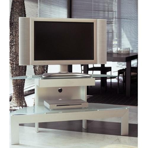 Mobile porta TV in alluminio e cristallo lunghezza 130 cm Ellisse