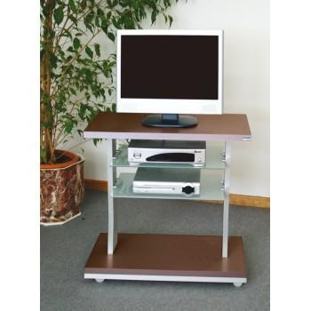 Porta TV con ruote in legno alluminio e vetro Planet WG