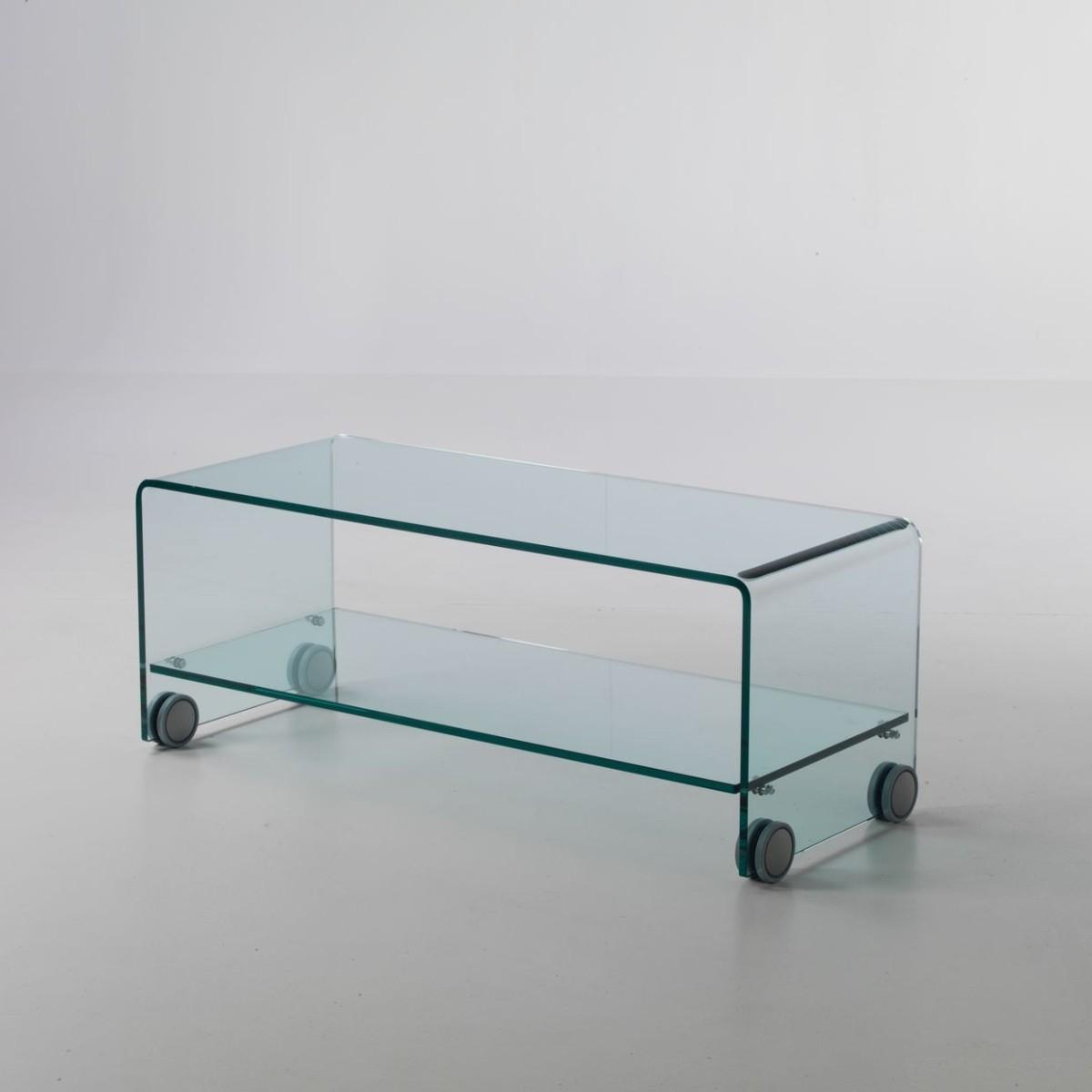Porta tv in vetro curvato trasparente su ruote leonid - Mobili porta tv in vetro ...