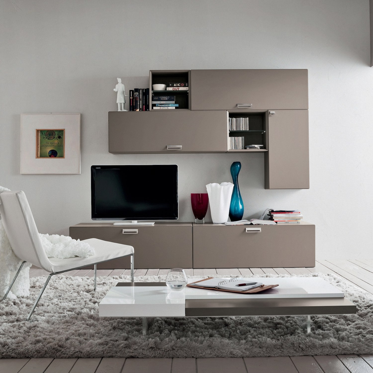 Parete Attrezzata Tortora E Bianco parete attrezzata soggiorno design moderno kimmo