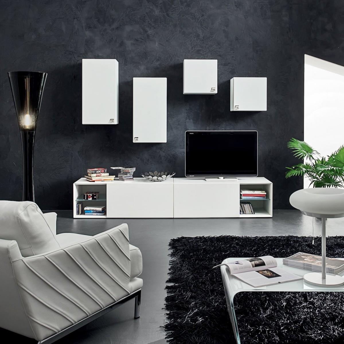 Parete attrezzata per soggiorno design nikolai - Parete attrezzata con scrivania ...