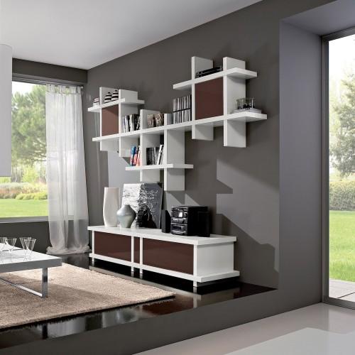 Parete attrezzata design moderno in legno Evald