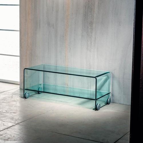 Porta tv in vetro curvato trasparente su ruote Leonid