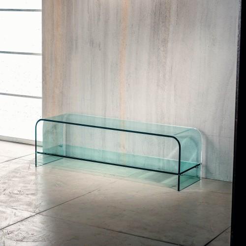 Tavolino TV in vetro curvato trasparente 120 x 35 Katie