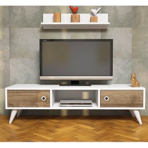 Porta tv design moderno in legno bianco/noce con mensola a muro Anson