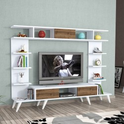 Mobile tv design moderno in legno 180 cm con mensole e scaffali Britton