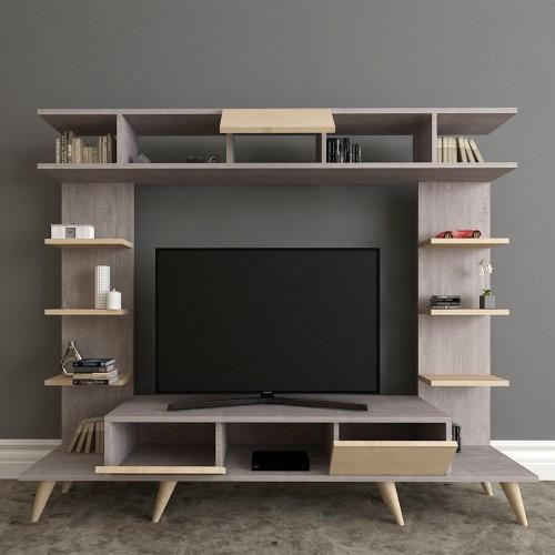 Porta televisore in legno design 180 cm grigio quercia Britton