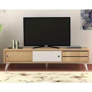 Porta televisore moderno in legno bianco/noce Cyrus
