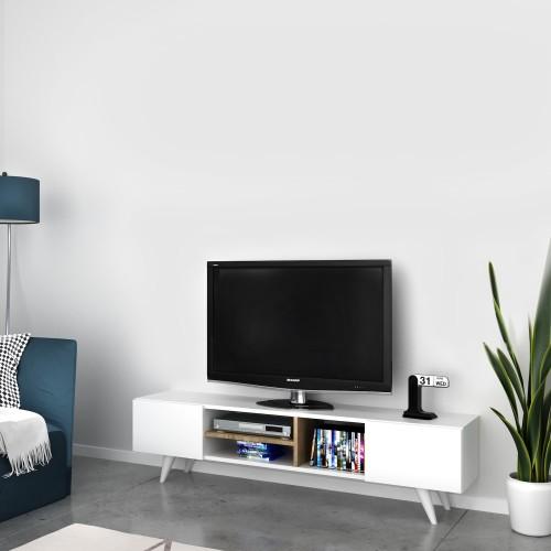 Mobile tv soggiorno in legno bianco 160 cm Deemer
