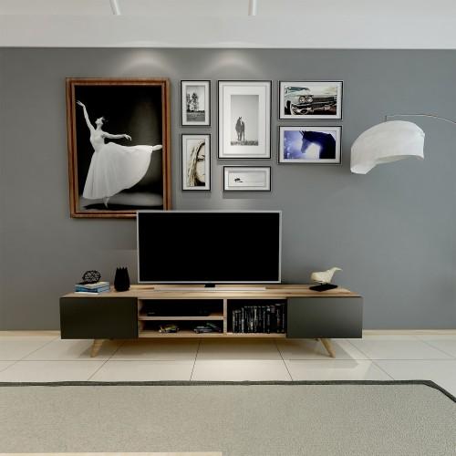 Porta TV moderno in legno nero/noce 160 cm Deemer