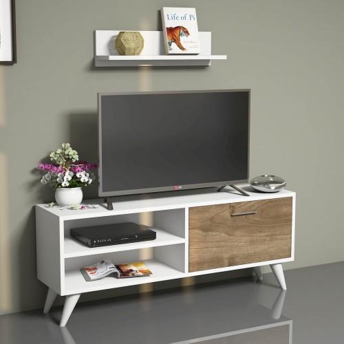 Mobile TV moderno in legno con ripiano a muro Ferdy