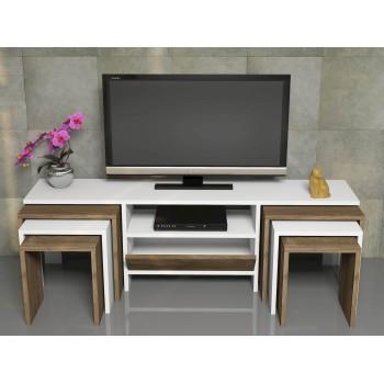 Porta televisore moderno in legno 140 cm con tavolini da salotto Garland