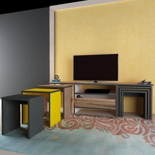 Mobile porta tv per soggiorno con tavolini caffè in legno Garland