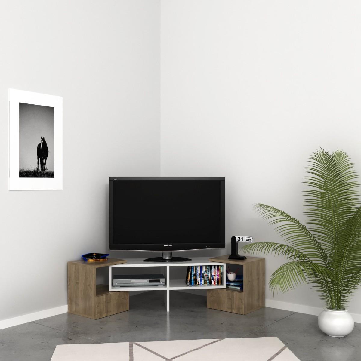 Porta Tv Angolare Moderno.Mobile Tv Angolare Per Soggiorno In Legno Bianco Harrison