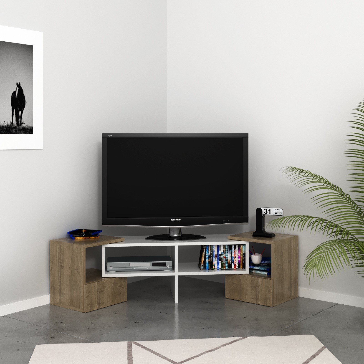 Mobile tv angolare per soggiorno in legno bianco harrison for Mobile salotto angolare