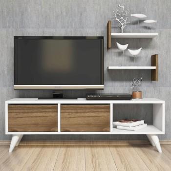 Mobiletto TV moderno in legno con ripiani per soggiorno camera Jamar