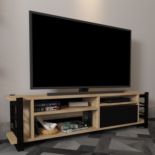 Mobile TV moderno per camera L140 cm in legno e metallo Linton