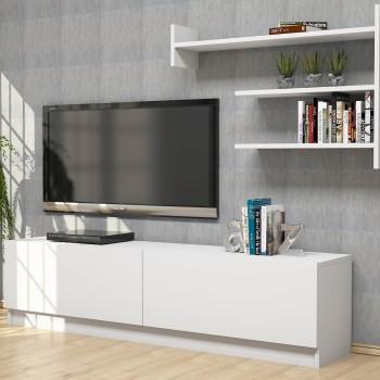 Porta televisore moderno per soggiorno con mensole Manfred