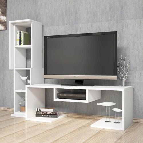 Mobiletto TV moderno con libreria verticale bianco Parris