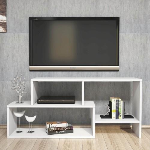Porta televisore moderno da camera in legno bianco Rayner