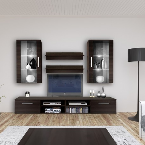 Parete attrezzata moderna con base TV pensili e mensole in legno Benita