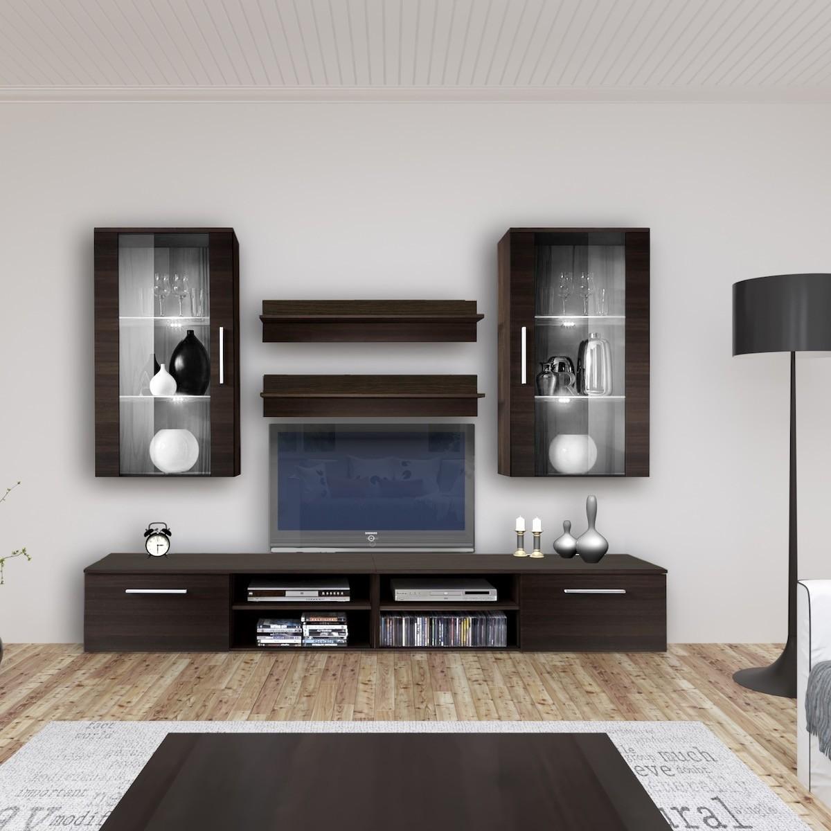 Parete attrezzata moderna base tv pensili e mensole benita for Parete decorata moderna