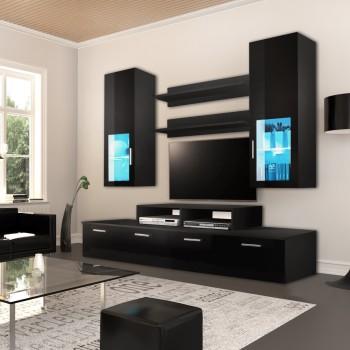 Parete soggiorno design moderno in legno Dana